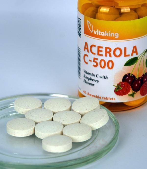 Acerola C-vitamin rágótabletta 500mg - Málnás ízben - Vitaking