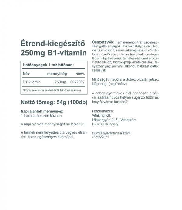 Vitaking B1 vitamin (250mg) az idegrendszer normál működéséhez