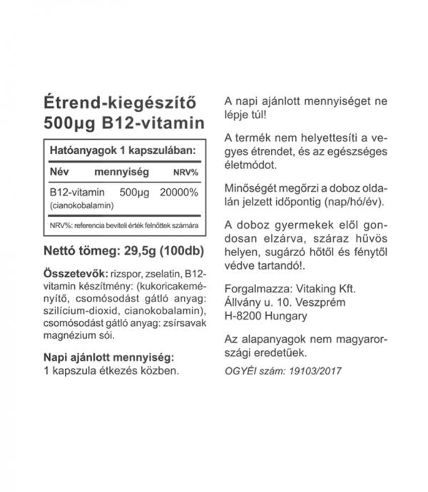 Vitaking B-12 vitamin (100 kapszula) 500µg