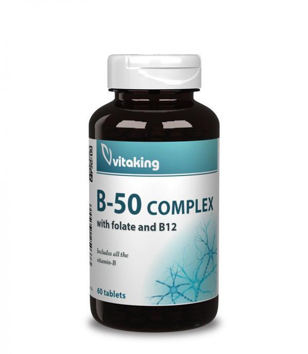 Vitaking Mega B-50 komplex (foláttal és metilkobalaminnal)