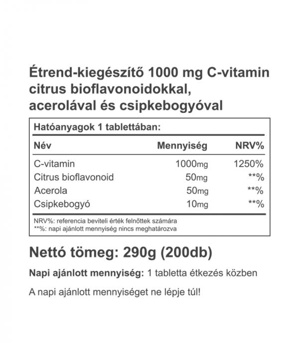 Vitaking C-1000 mg EXTRÁKKAL - gazdaságos, 200 db-os kiszerelés!