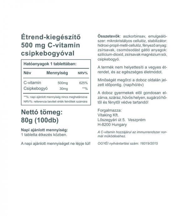 Vitaking C-vitamin 500mg (100 tablatta) 30 mg csipkebogyóval
