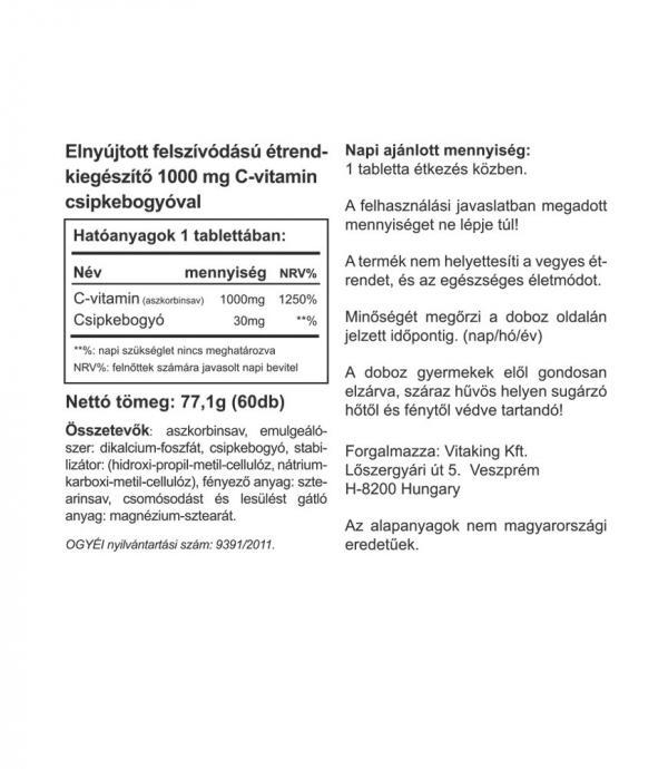 1000mg-os nyújtott felszívódású C-vitamin