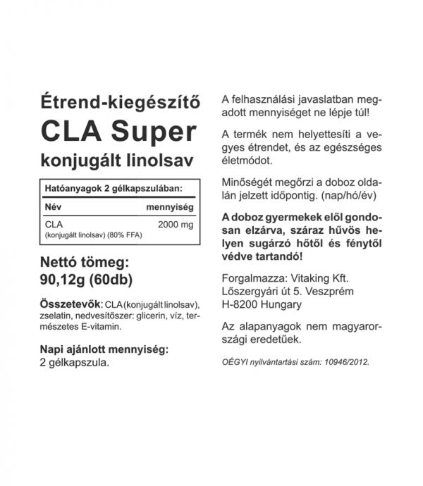 Vitaking CLA Super 1000mg (60) - kiegészítő a diétád mellé