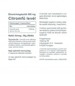 Vitaking Citromfű levél kapszula (500mg) A nyugalom gyógynövénye!