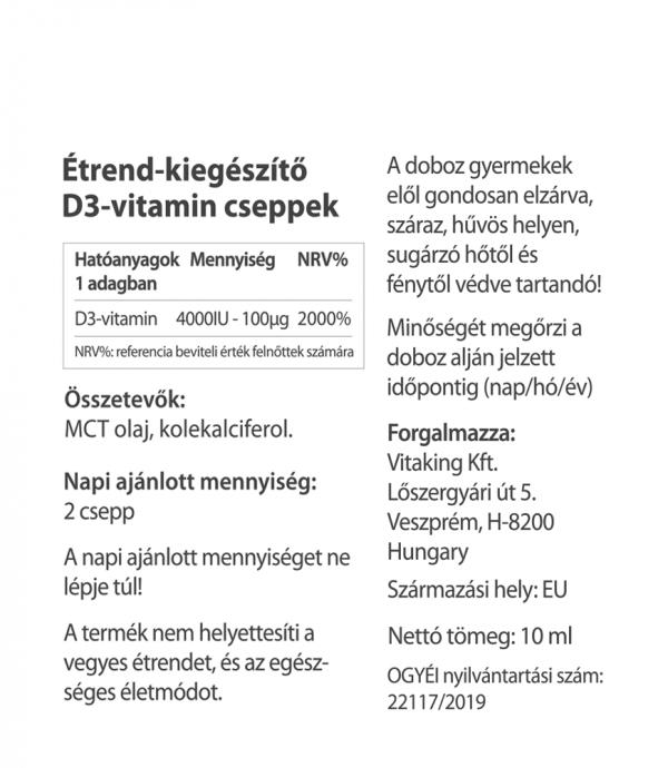 Vitaking D3 vitamin csepp MCT olajjal 10ml (2000NE/csepp)