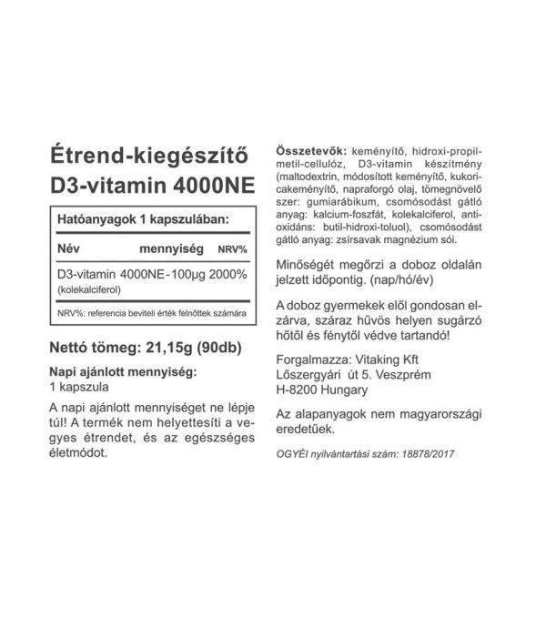 D3-vitamin 4000NE hatóanyag-tartalmú kapszula - Vitaking