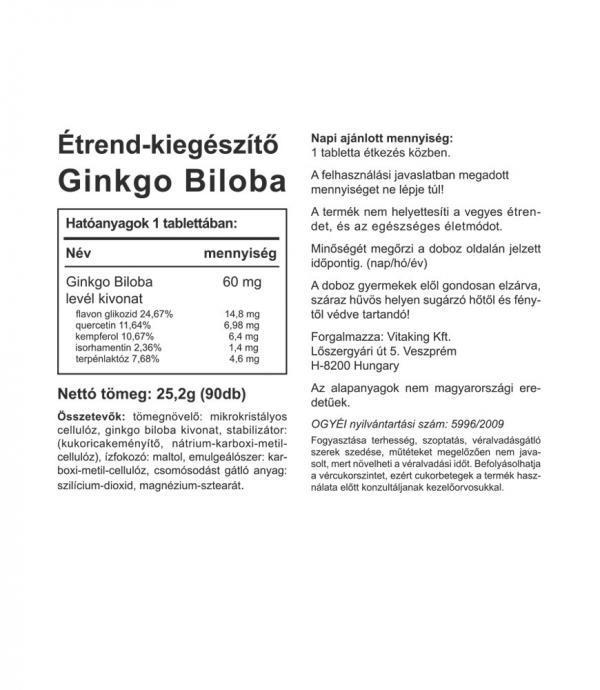 Vitaking® Ginkgo Biloba kivonat 60mg (90)