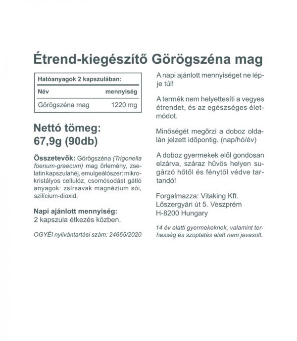 Vitaking Görögszéna mag 1220mg (fenugreek seed)