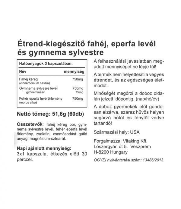 Vitaking GymneMax: fahéj + eperfa levél + gymnema