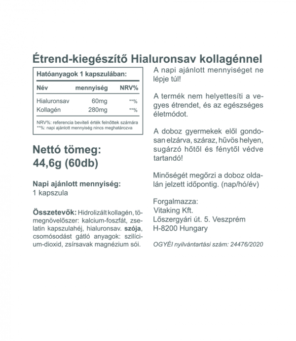 Vitaking Hialuronsav + Kollagén komplex (60)