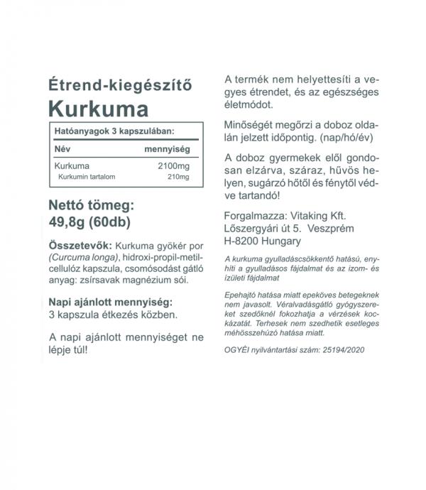 Vitaking Kurkuma 700mg - india gyógynövénye kapszulába zárva!