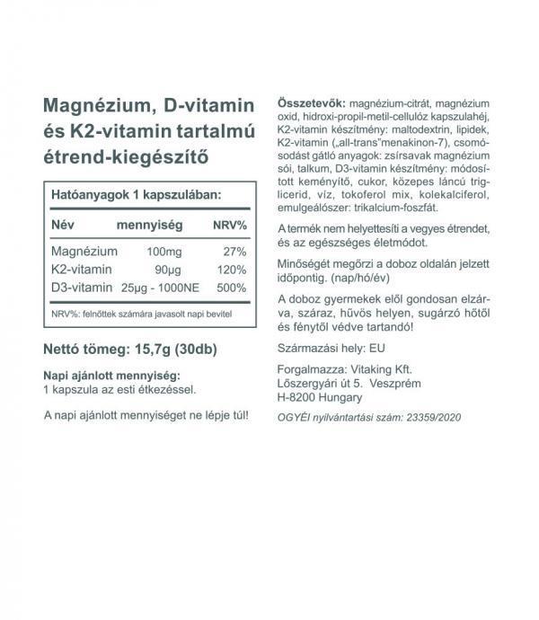 Vitaking MagneTrio - Magnézium + K2- és D3 vitamin komplex!