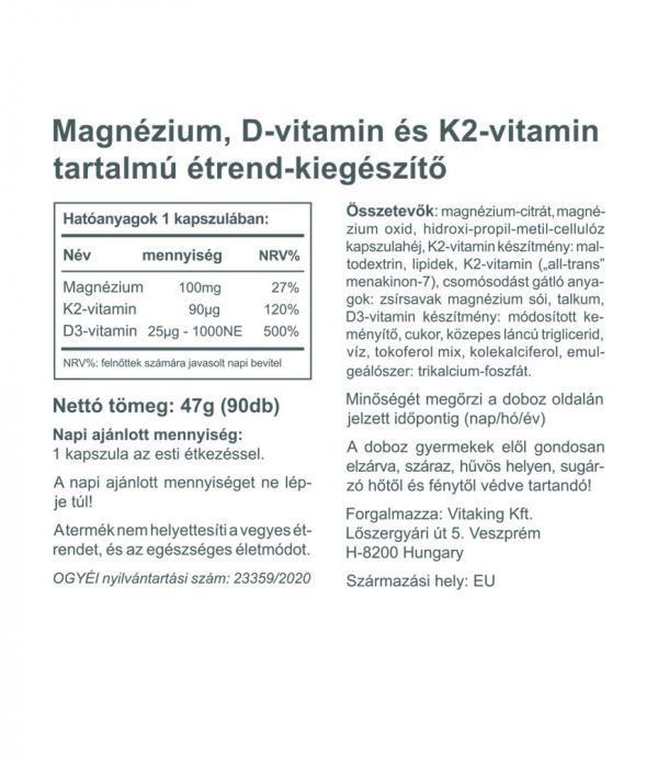 Vitaking MagneTrio - Magnézium + K2 + D3 vitamin komplex (90)