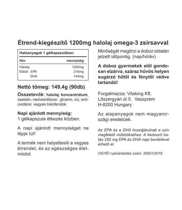 Vitaking ® Omega-3 kapszula (EPA: 216mg DHA: 144mg)