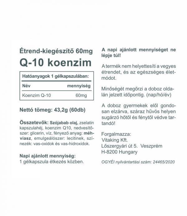 Vitaking Q10 koenzim 60mg-os (60 gélkapszula) vitaking.hu
