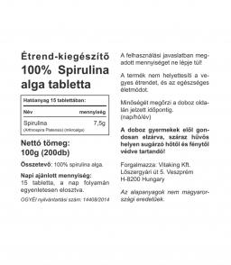Vitaking 100% Spirulina alga tabletta 500mg (200 db)