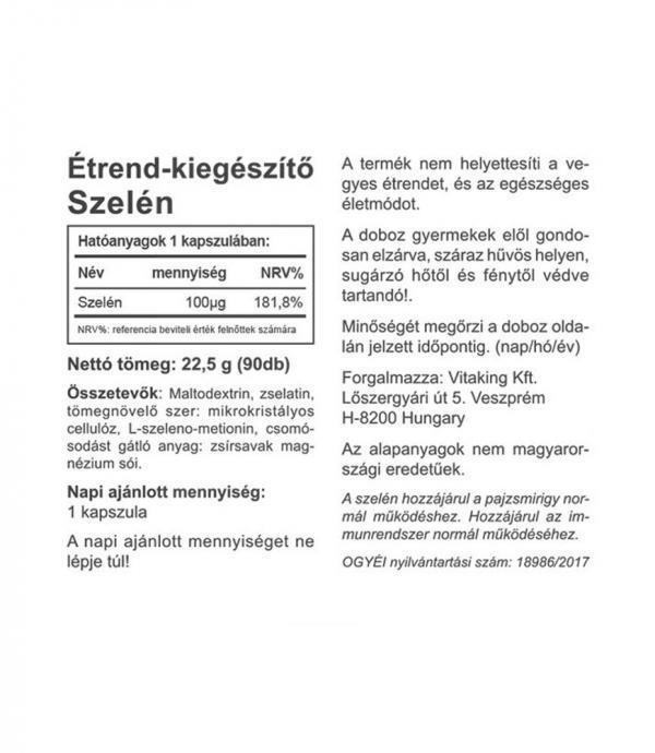 Vitaking Szelén kapszula 100 µg szerves szelénnel (L-szeleno-metionin)