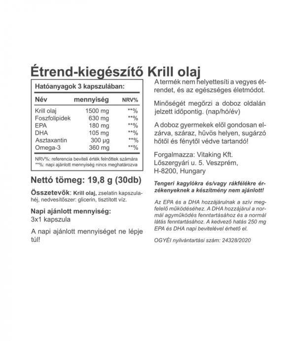 Vitaking Vitakrill (krill olaj) 500mg +astaxanthin (30)