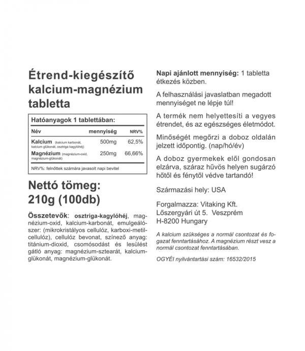 Vitaking Kalcium-Magnézium (500/250mg) 100 tabletta