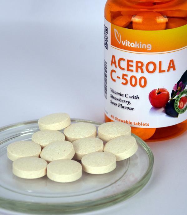 Vitaking Acerola C-500 (40 rágótab) + értékes növényi összetevők!