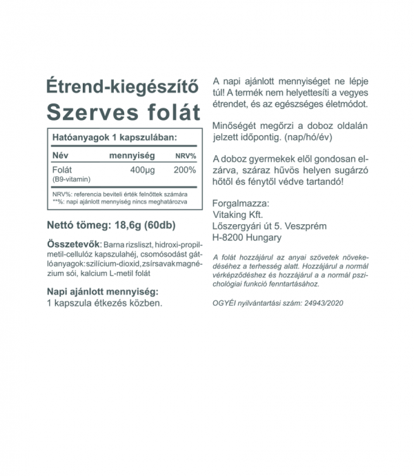 Vitaking Folát 400µg (60 kapszula) Természetes folsav